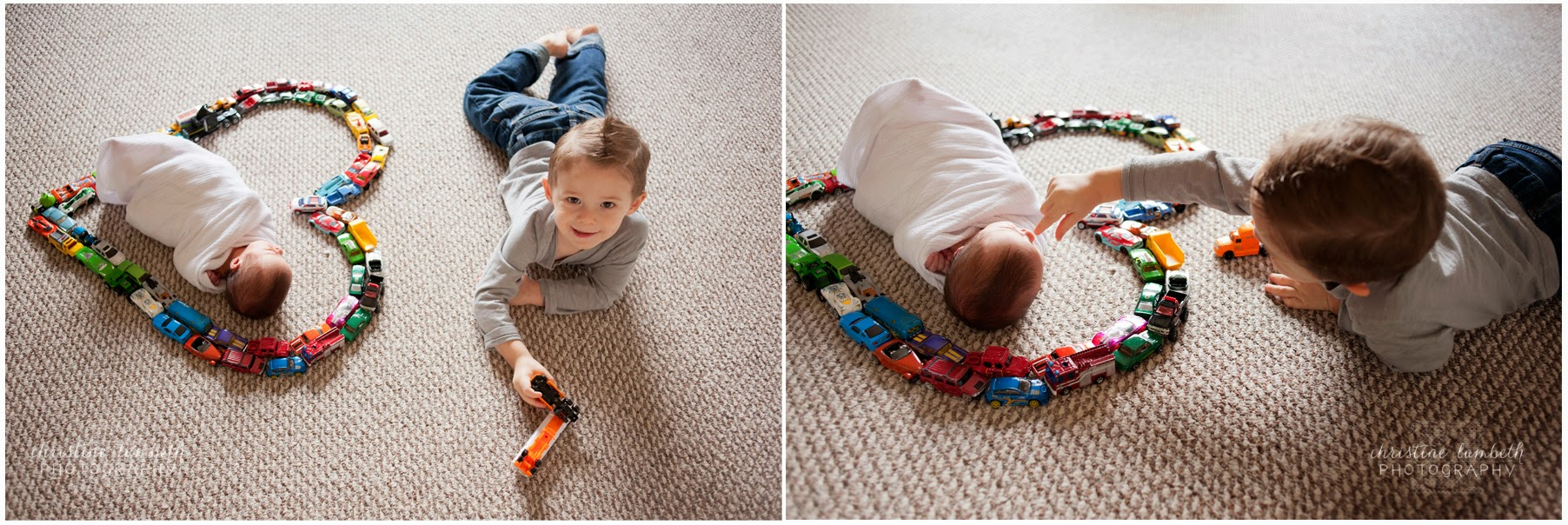 Newborn and big brother with toy cars