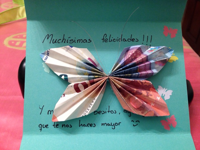 tarjeta mariposa billetes