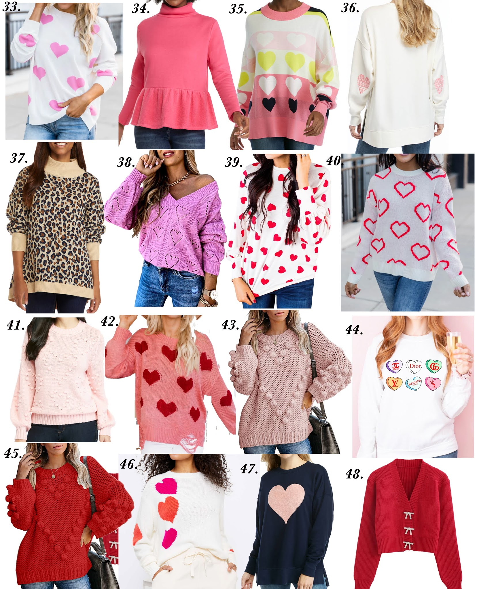 Forty-Eight Valentine Sweaters (all under $100) - Valentine Outfit Inspiration for Adults and Kids: Something Delightful Blog #ValentinesDay #HeartSweaters #ValentinesDayInspo #ValentinesDaySweaters #Pink #Affordable Fashion