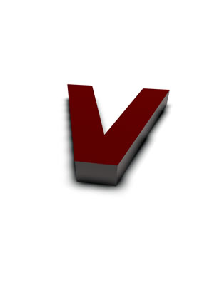 lettre 3D rouge de Chine - V - images libres de droit