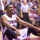 Kareem Jamar takes a break after getting knocked to the ground.  Dahlberg Arena in Missoula, Mont., January 5th, 2013.
