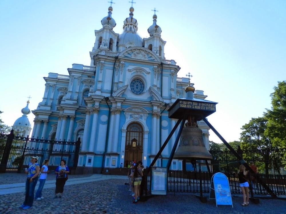 Outside the gorgeous, teal-blue Smolny Monastery