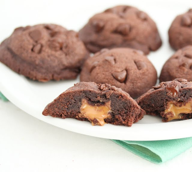 close-up photo of a Gooey Caramel Chocolate Cookie