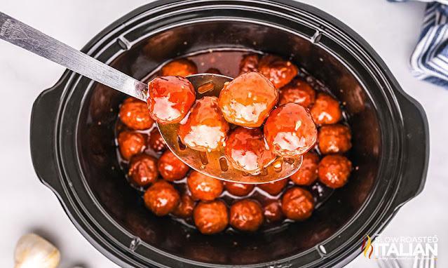 Crockpot Honey Garlic Meatballs on a spoon