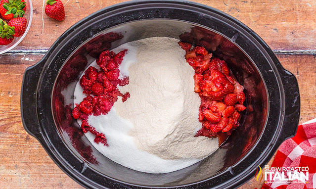 berry jam ingredients in a slow cooker