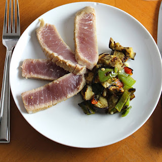 Grilled Tuna with Eggplant and Peppers.