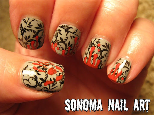 Red animal print nail designs