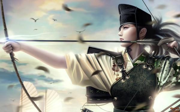 Archer Samurai And Birds, Warriors