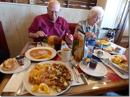 Having lunch/breakfast with mom and dad at Awful Annie's, Auburn California