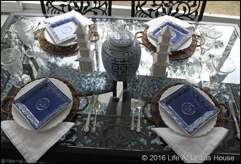 Blue and white table 1