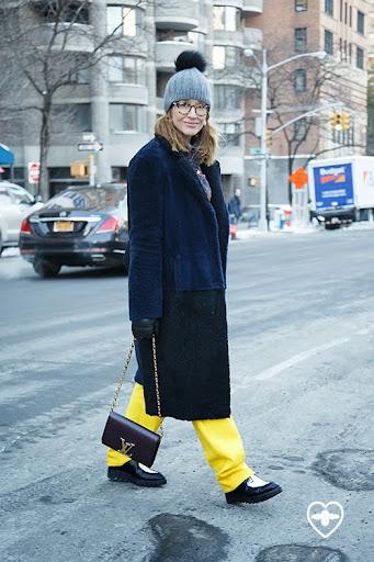 Tiany Kiriloff; Fashion TV host and journalist; Joseph hat; Topshop Unique coat; Jean Paul Lespagnard trousers; Filles A Pappa shirt; Prada shoes; Louis Vuitton bag;