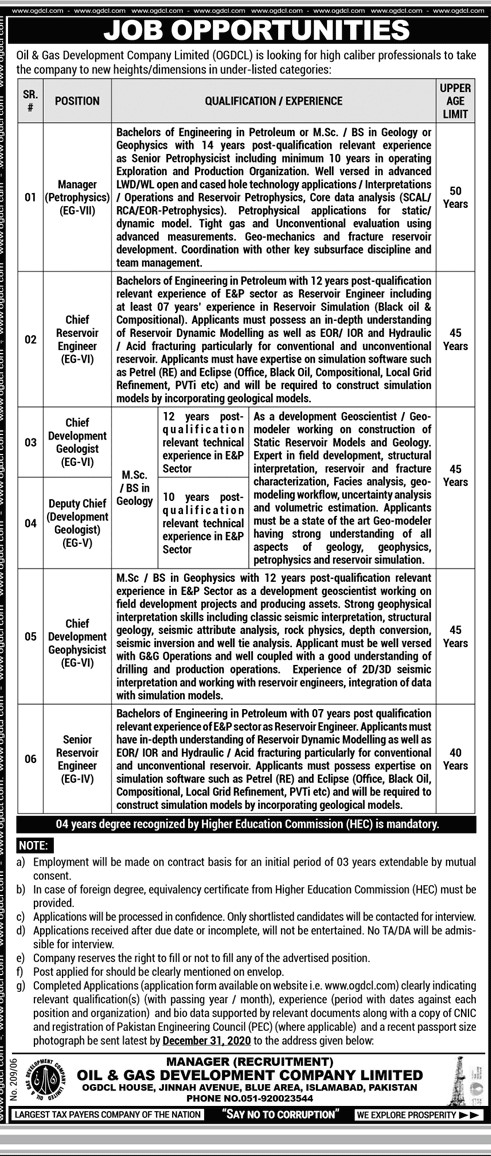 Sui Southern Gas Company New Jobs SSGC Jobs 2020 New Advertisement