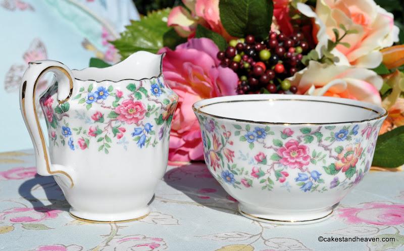 Springtime Crown Staffordshire Vintage Creamer and Sugar Bowl