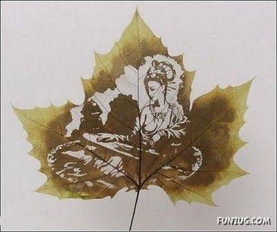 انقش صــورة تحــب الشجــر.. غاية الروعة leaf_painting_art_09