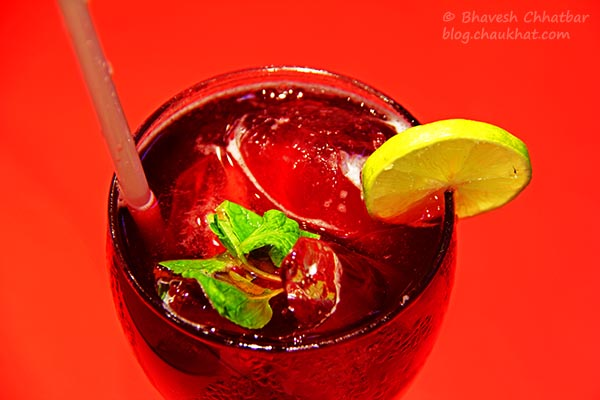 Close-up of Hibiscus Iced Tea at Frisco, Koregaon Park, Pune