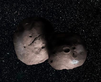 ilustração do objeto 2014 MU69 do Cinturão de Kuiper