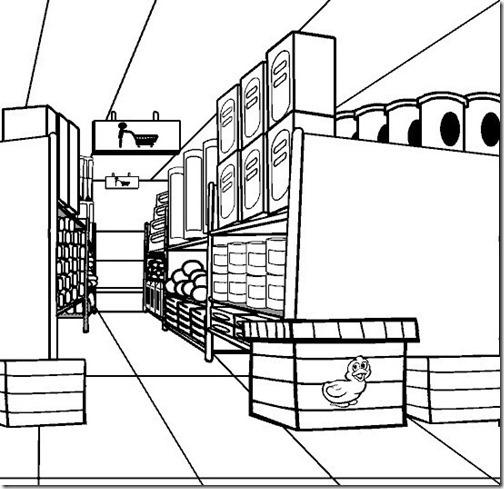 dibujos en blanco y negro comidas y superercados