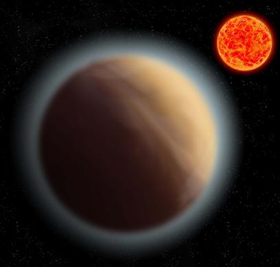 ilustração do exoplaneta GJ 1132b e sua estrela