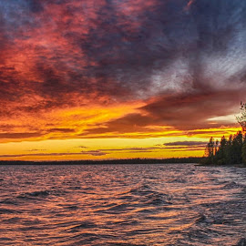 Sunset In The Storm by Patricia Phillips - Landscapes Sunsets & Sunrises ( alaska sunsets storms lakes skilak )