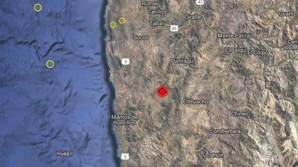 Un sismo de 6,2 grados sacude la costa chilena hoy martes