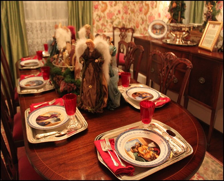 dining room with nativity dinnerware
