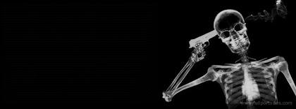 Portada para facebook de Esqueleto con una pistola