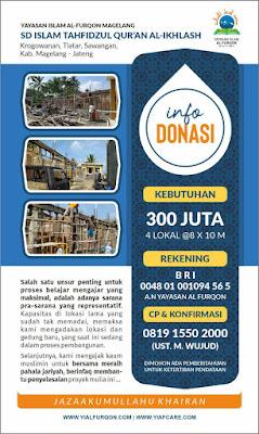 Bersama meraih pahala jariyah membantu penyelesaian pembangunan Gedung baru SD Islam Tahfidzul Qur'an Al-Ikhlas Tlatar, Sawangan, Kabupaten Magelang