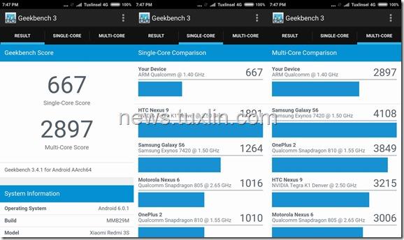 Benchmark Xiaomi Redmi 3S Geekbench 3