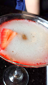 Bartini, French Kiss martini, vodka swirled with a hint of strawberry puree and topped with champagne