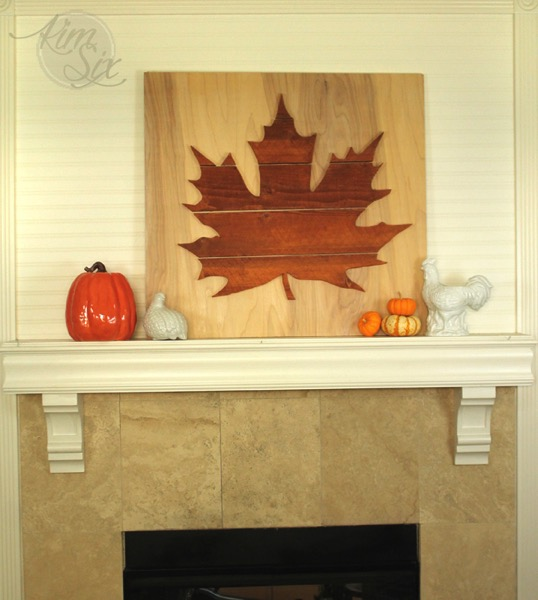 Oversized wooden leaf mantel thanksgiving