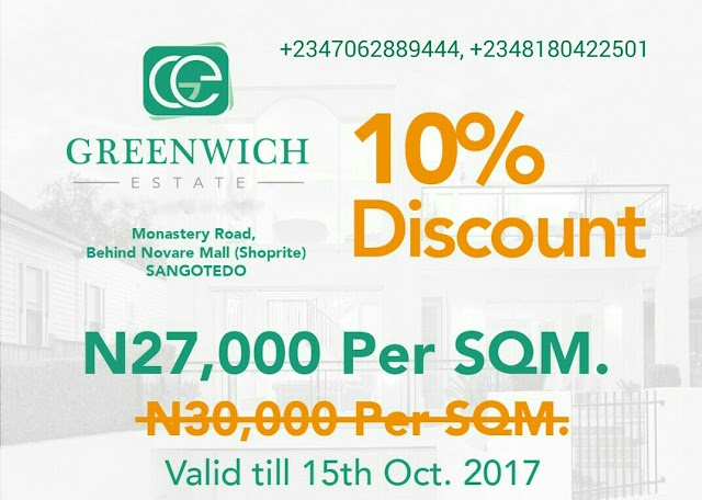 GREENWICH ESTATE,SANGOTEDO,AJAH, LAGOS (LAND FOR SALE)