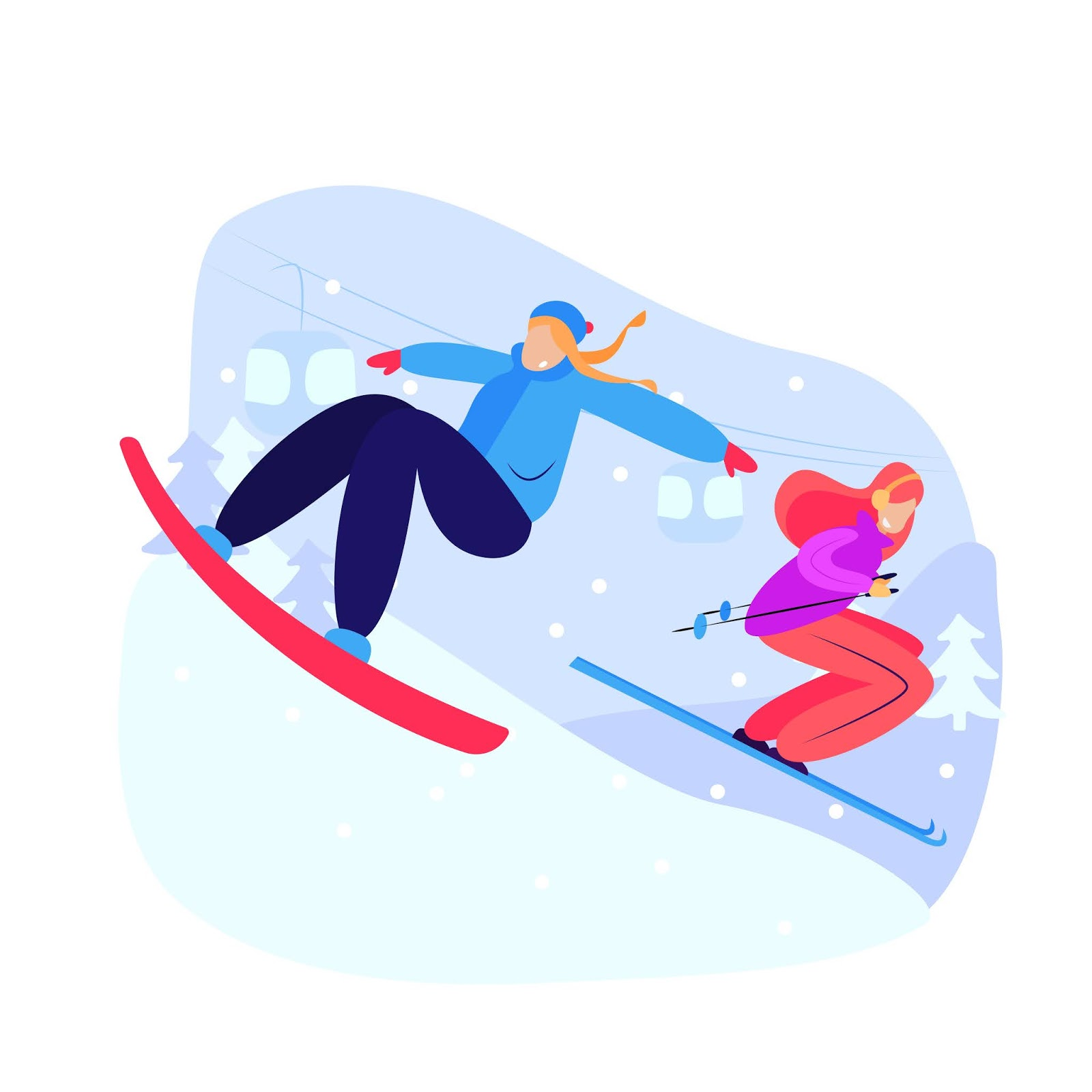 Women Snowboarding And Skiing Downhill Free Download Vector CDR, AI, EPS and PNG Formats