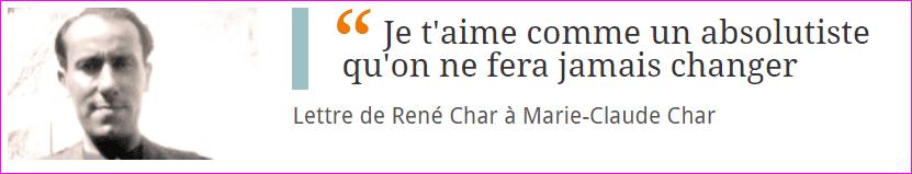 Lettre de René Char