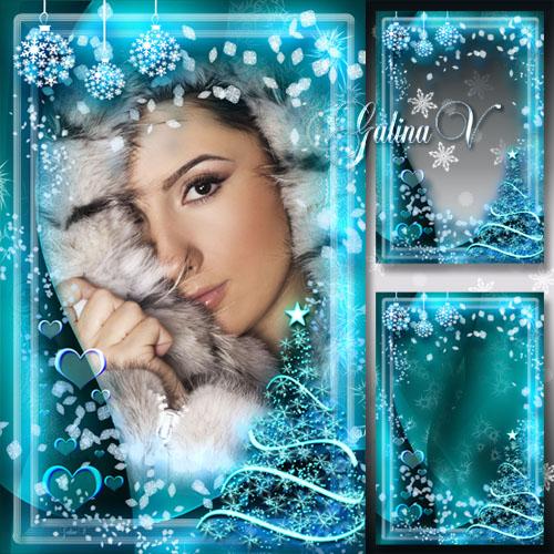 Новогодняя рамка - Неоновый свет волшебной зимы