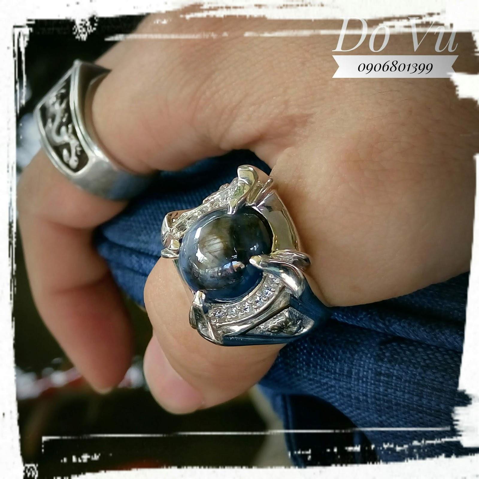 Nhẫn nam đá Sapphire thiên nhiên có sao, bạc cao cấp xi vàng trắng