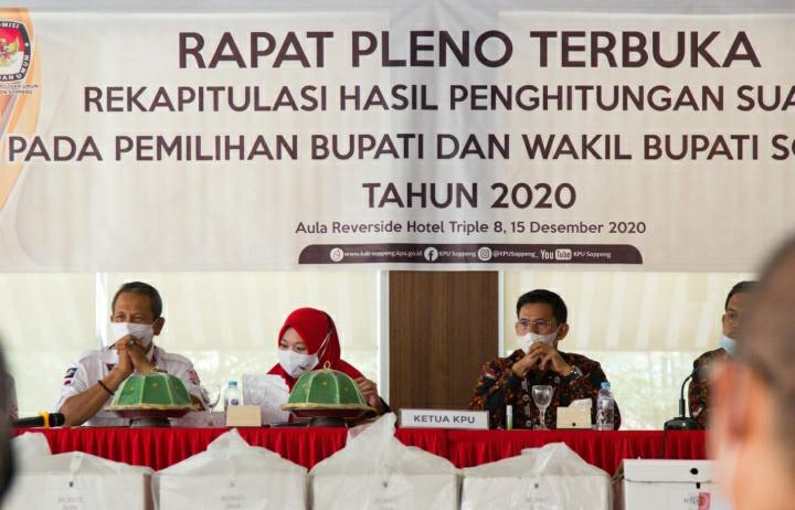 Rapat Pleno Terbuka KPU Soppeng Kukuhkan Kemenangan AKAR - LHD Dengan 86,34 Persen Suara