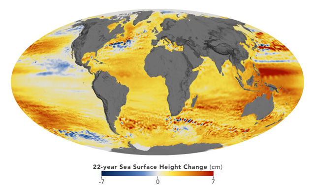Global map showing the change in sea surface height over the 22-year span, 1992-2014. Graphic: Kel Elkins / NASA Earth Observatory