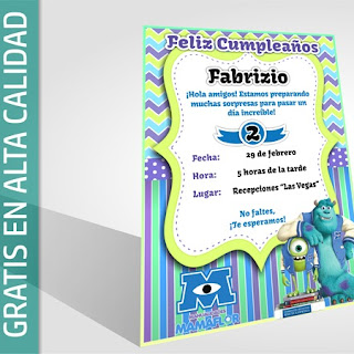 Tarjeta Invitación de Monsters Inc. University para Imprimir