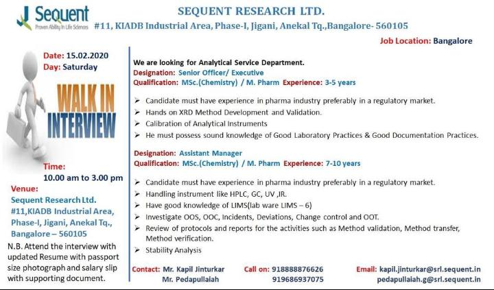 Sequent Research Ltd.-Walk-In Interview for Analytical Service Department on 15th Feb 2020