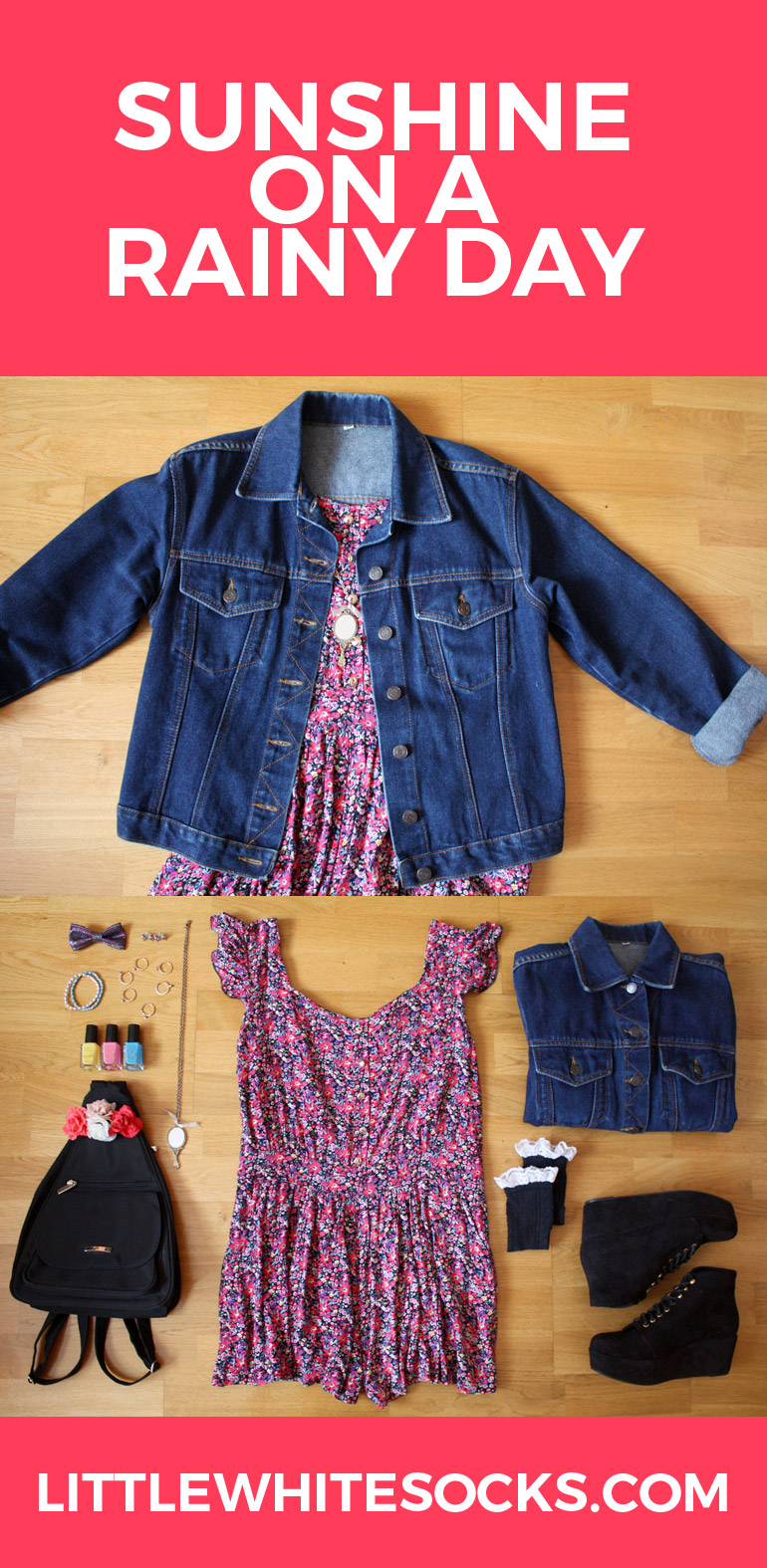printed playsuit denim jacket outfit