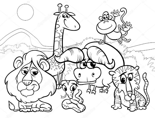 Black And White Cartoon Of Scene With Wild African Animals Characters Group  For Coloring Booku Vector By Izakowski