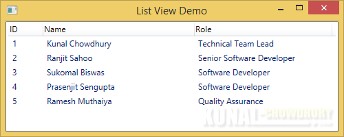 WPF ListView-GridView control - Column Header aligned Left (www.kunal-chowdhury.com)