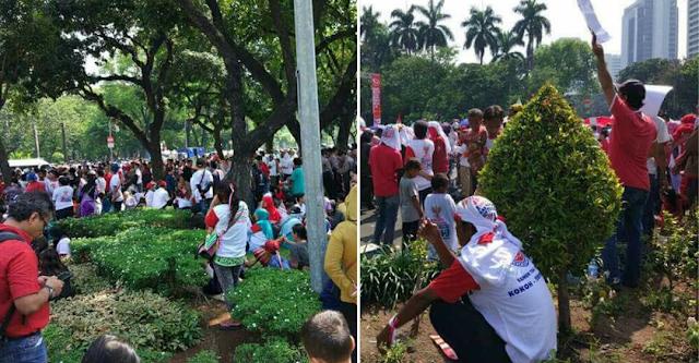 parade pendukung ahok menginjak taman kota