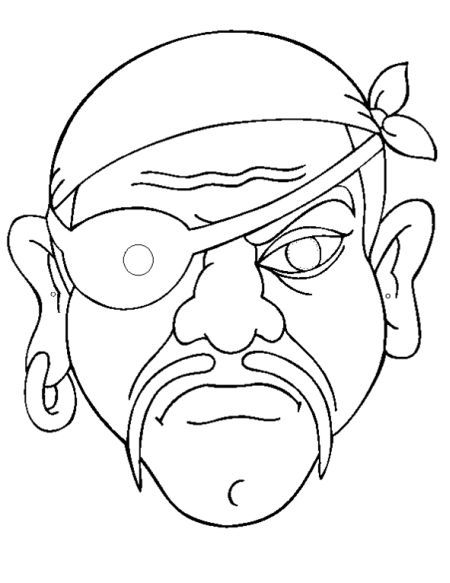 Máscara de pirata para colorear