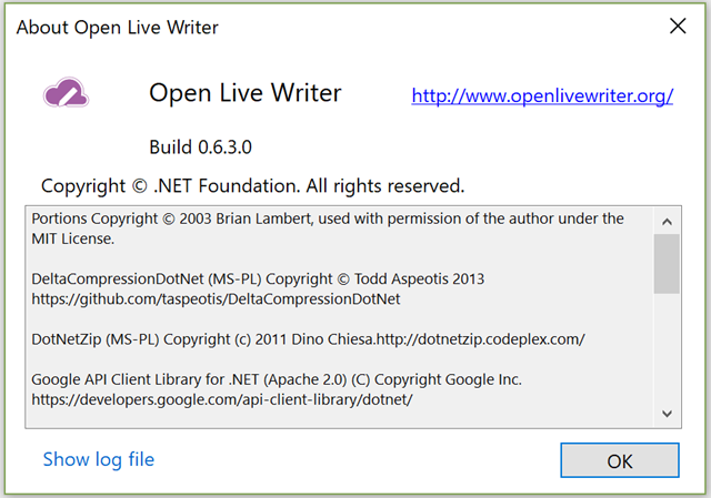 Open Live Writerのバージョン 0.6.3