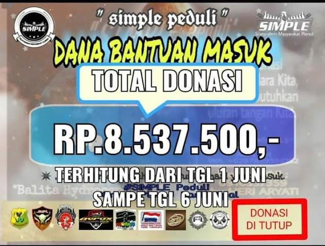 Simple Peduli berikan donasi 8,5 jt untuk penderita Hydrocephalus, Bayu Ardiansyah