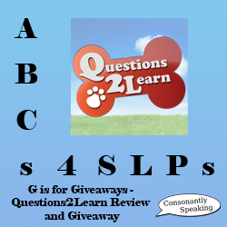 ABCs 4 SLPs: G is for Giveaways - Questions2Learn Review and Giveaway image