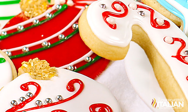decorated Christmas Sugar Cookies in a pile