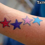 forearm red purple pink blue - Star Tattoos