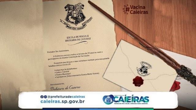 Prefeitura de Caieiras usa carta de Hogwarts para campanha vacinação da Covid19